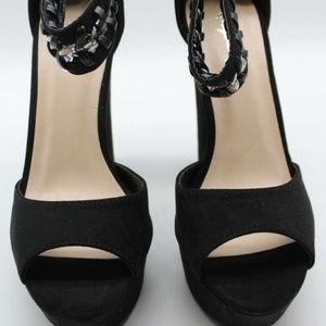 Qupid Black Suede Chain Link Heels Size 6.5